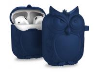 Husa silicon OEM pentru Airpods Owl Bleumarin
