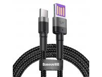 Cablu Date si Incarcare USB la USB Type-C Baseus Cafule HW Quick Charging, 1 m, Gri, Blister
