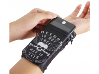 Husa OEM Wrist Pack White Skull pentru Telefon 5.5 inci, Dimensiuni interioare 150 x 70 mm, Neagra Alba, Bulk