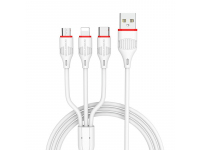 Cablu Incarcare USB la Lightning - USB la MicroUSB - USB la USB Type-C Borofone BX17 Enjoy, 1 m, Alb, Blister