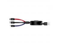 Cablu Date si Incarcare USB la Lightning - USB la MicroUSB - USB la USB Type-C Totu Design Conch Retractabil, 1m, Multicolor, Blister