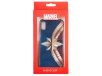 Husa TPU Marvel pentru Apple iPhone X, Captain Marvel 001, Aurie, Blister