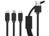 Cablu Incarcare USB la Lightning - USB la MicroUSB - USB la USB Type-C MaXlife 3in1, 2.1A, Negru, Blister