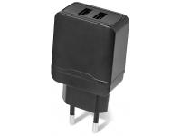 Incarcator Retea USB Setty 2.4A, 2 X USB, Negru, Blister