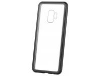 Husa Aluminiu OEM Magneto Frame cu spate din sticla pentru Samsung Galaxy A20 A205 / Samsung Galaxy A30 A305, Neagra, Blister