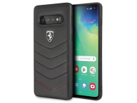 Husa Piele Ferrari Heritage Quilted pentru Samsung Galaxy S10 G973, Neagra, Blister FEHQUHCS10BK