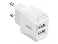 Incarcator Retea USB Baseus Mini Dual-U, CCALL-MN02, 2.1A, 2 X USB, Alb, Blister