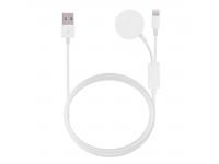 Cablu Date si Incarcare USB la Lightning OEM Magnetic Multifunctional, 1 m, Alb, Blister