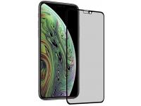 Folie Protectie Ecran OEM pentru Apple iPhone X / Apple iPhone XS, Sticla securizata, Full Face, Edge Glue, Privacy, 5D+, Neagra, Blister