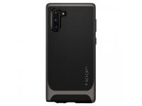 Husa Plastic - TPU Spigen Neo Hybrid Gun Metal pentru Samsung Galaxy Note 10 N970, Gri - Neagra, Blister 628CS27382