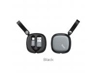 Cablu Date si Incarcare USB la USB Type-C HOCO U33, Retractabil, 0.9 m, Negru, Blister