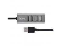 Hub USB Hoco HB1, 4xUSB, 0.8 m, Gri, Blister