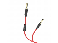 Cablu Audio 3.5 mm la 3.5 mm HOCO UPA12, cu microfon si controler comenzi, 1 m, Rosu, Blister