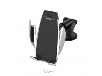 Incarcator Auto Wireless HOCO CA34, cu suport telefon, Argintiu, Blister