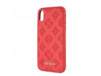 Husa Piele - TPU Guess Debossed Peony pentru Apple iPhone X / Apple iPhone XS, Rosie, Blister GUHCPXPELRE