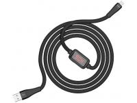 Cablu Date si Incarcare USB la MicroUSB HOCO S4, Afisaj led, 2.4A, 1.2 m, Negru, Blister