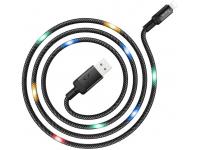 Cablu Date si Incarcare USB la Lightning HOCO U63 Spirit, Cu Led-uri, 2.4A, 1.2 m, Negru, Blister