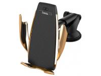 Incarcator Auto Wireless HOCO CA34 Elegant Air Outlet, Cu Suport Telefon, Auriu, Blister