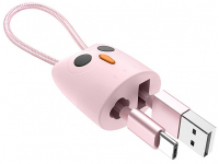 Cablu Date si Incarcare USB la USB Type-C HOCO KX2 Kikibelief, Breloc, 2.4A, 0.24 m, Roz, Blister