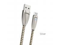Cablu Date si Incarcare USB la MicroUSB Borofone BlinkJet BU3, Led Stare, 2.4A, 1.2 m, Argintiu, Blister