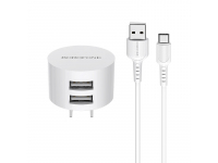 Incarcator Retea cu cablu USB Tip-C Borofone BA23A, 2 X USB, Alb, Blister