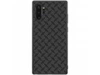 Husa TPU Nillkin Synthetic Fiber pentru Samsung Galaxy Note 10+ N975 / Note 10+ 5G N976, Plaid, Neagra, Blister