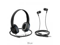 Set Handsfree Casti On-Ear + In-Ear HOCO W24, Cu microfon, 3.5 mm, Negru - Albastru, Blister