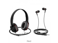 Set Handsfree Casti On-Ear + In-Ear HOCO W24, Cu microfon, 3.5 mm, Negru - Rosu, Blister