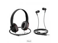 Set Handsfree Casti On-Ear + In-Ear HOCO W24, Cu microfon, 3.5 mm, Negru - Rosu, Blister