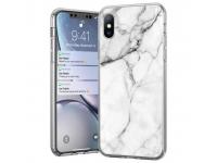 Husa TPU WZK Marble pentru Samsung Galaxy A40 A405, Alba, Blister