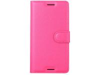 Husa Piele OEM Litchi Wallet cu suport pentru carduri pentru Sony Xperia X, Roz, Bulk