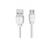 Cablu Date si Incarcare USB la MicroUSB Remax Suji RC-134m, 2.1A, 1 m, Alb, Blister
