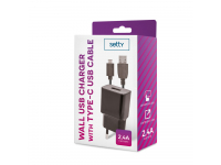 Incarcator Retea cu cablu USB Tip-C Setty, 2.4 A, Negru, Blister