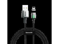 Cablu Date si Incarcare USB la Lightning Baseus Zinc Magnetic, 2.4A, 1 m, Led, Negru, Blister CALXC-A01