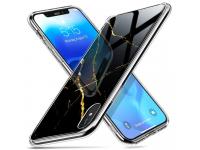 Husa Plastic - TPU ESR Mimic- Marble, cu spate din sticla, pentru Apple iPhone 7 / Apple iPhone 8, Neagra, Blister