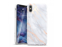 Husa TPU ESR Marble pentru Apple iPhone X / Apple iPhone XS, Aurie - Gri, Blister