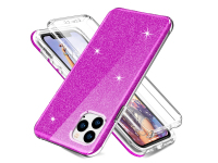 Husa TPU OEM Shockproof Glitter Full Cover pentru Apple iPhone 11 Pro, Mov, Bulk