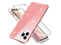 Husa TPU OEM Shockproof Glitter Full Cover pentru Apple iPhone 11 Pro, Roz, Bulk