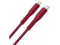Cablu Date si Incarcare USB Type-C la Lightning UNIQ Flex, 1.2 m, Rosu, Blister