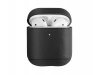 Husa piele pentru Apple Airpods 1 / 2 Uniq Terra, Neagra, Blister