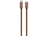 Cablu Date si Incarcare USB Type-C la Lightning Goui Fashion, 1 m, Maro, Blister G-FASHIONC94BR