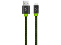 Cablu Date si Incarcare USB la Lightning Goui Fashion Flat, 1 m, Negru - Verde, Blister G-LC8PINFBF-GK