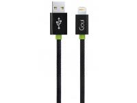 Cablu Date si Incarcare USB la Lightning Goui Metal Spring, 0.3 m, Negru, Blister G-LC30-8PIN