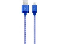 Cablu Date si Incarcare USB la Lightning Goui Metallic, 1 m, Albastru, Blister G-LC8PIN-02B