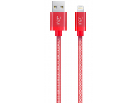 Cablu Date si Incarcare USB la Lightning Goui Metallic, 1 m, Rosu, Blister G-LC8PIN-02R