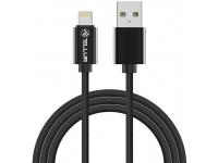 Cablu Date si Incarcare USB la Lightning Tellur Braid, 2 m, Negru, Blister TLL155303