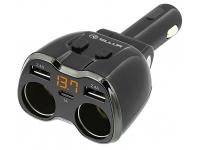 Incarcator Auto USB Tellur Splitter cu 2 prize bricheta auto, 1 X USB Tip-C - 2 X USB, Negru, Blister TLL321031