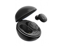 Handsfree Casca Bluetooth TWS A10 Space Capsule + Husa incarcare, SinglePoint, Negru, Blister