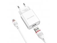 Incarcator Retea cu cablu MicroUSB Borofone BA20A, Smart ID, 2.1A, 1 x USB, Alb, Blister