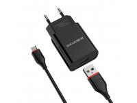 Incarcator Retea cu cablu MicroUSB Borofone BA20A, Smart ID, 2.1A, 1 x USB, Negru, Blister